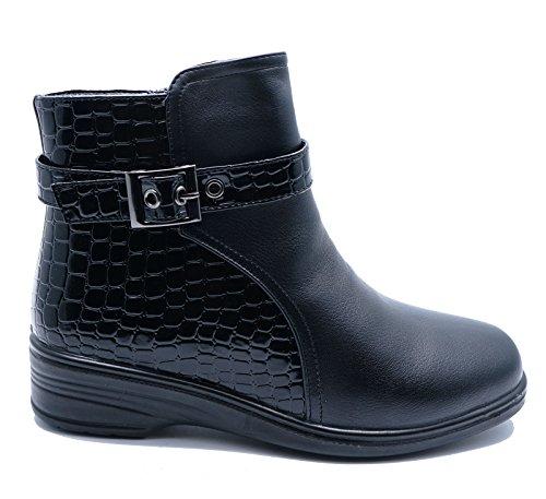 HeelzSoHigh Damen Schwarz Low-Wedge Reißverschluss Warm Fleecefutter Winter Knöchel Wadenhohe Stiefel Schuhe Größen 3-8