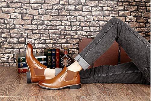 Stivali da Eleganti Moda Business Marrone Marrone Flat 44 Autunno Foderata Vintage Chelsea Bassi Pelle Invernali Rosso in 37 Stivaletti Uomo Nero Scarpe zqPAdww4