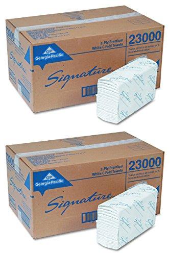 Georgia Pacific Professional 23000 C-Fold Paper Towels, 10 1/10 x 13 1/5, White, 120 Per Pack (Case of 12 Packs), 2 Case by Georgia-Pacific