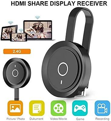 ZCVB Pantalla WiFi para Dongle HDMI Pantalla Compartir Receptor Adaptador de Pantalla inalámbrico MiraScreen TV Stick 2.4G / 5G con Android/iOS Youtube/Google/Chromecast,Negro,2.4G: Amazon.es: Hogar