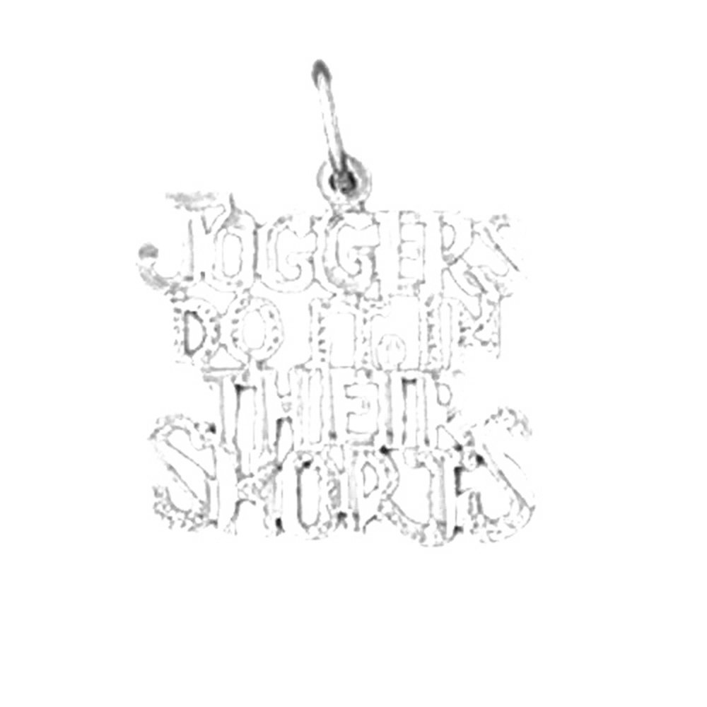 14K White Gold Joggers Do It In Their Shorts Saying Pendant - 19 mm