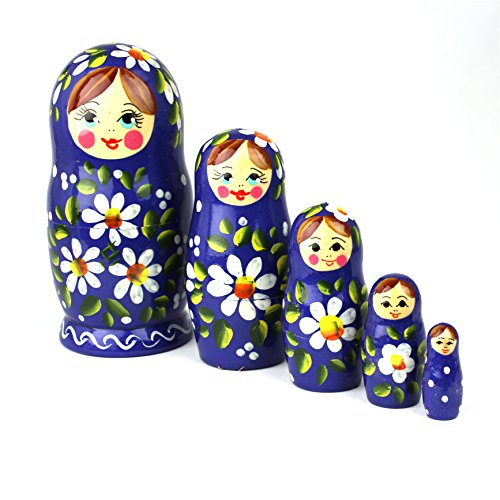 Heka Naturals Matryoshka Russian Nesting Dolls Classic Babushka Hand Made in Russia 5 Pieces 12 cm Wooden Gift Toy (5 Dolls (12 cm) Polyanka)