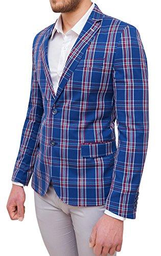 In Cotone Formale Sartoriale Quadri Rosso Fit Blu Elegante Uomo Slim Giacca 7YqTwBgX