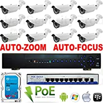 USG IP CCTV 12 Camera 1080P PoE CCTV Kit With Motorized Lens Upgrade: 12x 1080P 2MP IP PoE 2.8-12mm Auto-Zoom & Auto-Focus Bullet Cameras + 1x 24 Channel 1080P NVR + 2x 9 Port PoE Switches + 1x 3TB HDD *** High Definition Video Surveillance For Your Home or Business *** Simple Plug & Play P2P Cloud Setup For Apple & Android Smartphones