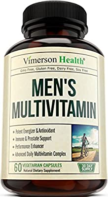 Men's Multivitamin with Zinc + Selenium + Vitamins A C D E + B1 B2 B3 B5 B6 B12 + Spirulina + Calcium + Lutein + Magnesium + Saw Palmetto + Green Tea + Biotin. Natural Non-Gmo Multivitamins for Men