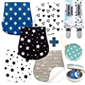 Baby Burp Cloths Pack of 5 by Dodo Babies + 2 Pacifier Clips + Pacifier Case in a Gift Bag, Premium Quality Unisex Boy or Girls Soft and Absorbent, Excellent Baby Shower/Registry Gift