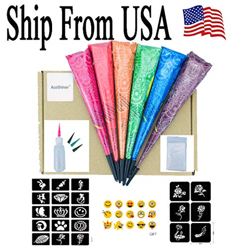 Ship from USA 6 Colors Temporary Tattoo Cones with Free Adhesive Stencils(random), 6PC Paste Cones Body Art Painting Drawing,1Pcs Bottle, 4Pcs Nozzles
