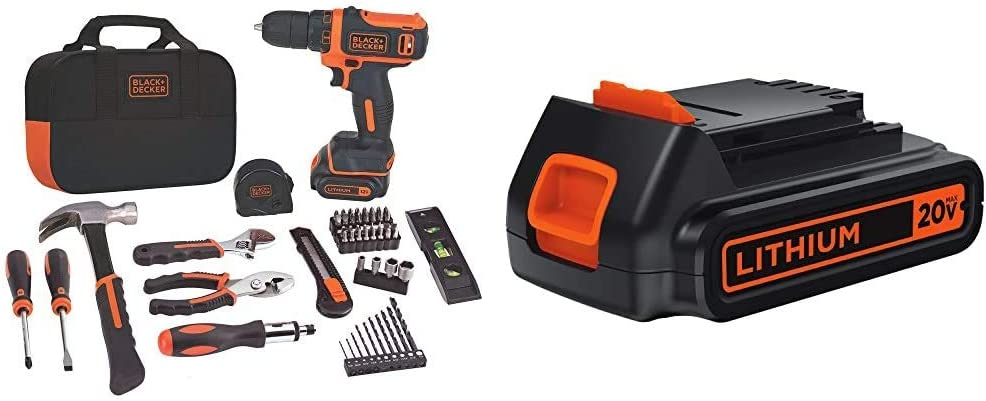 BLACK+DECKER 12V MAX Drill & Home Tool Kit, 60-Piece with Extra 1.5-Ah Lithium Battery (BDCDD12PK & LBXR20)