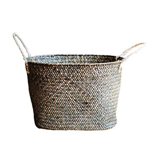Foylome Natural Straw Woven Seagrass Laundry Storage Baskets Rattan Planter Organizer(Green) ()
