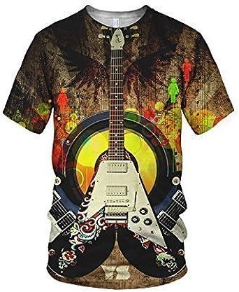 Estampado Entero Genial Guitarra Eléctrica Moda Camiseta De Mujer ...