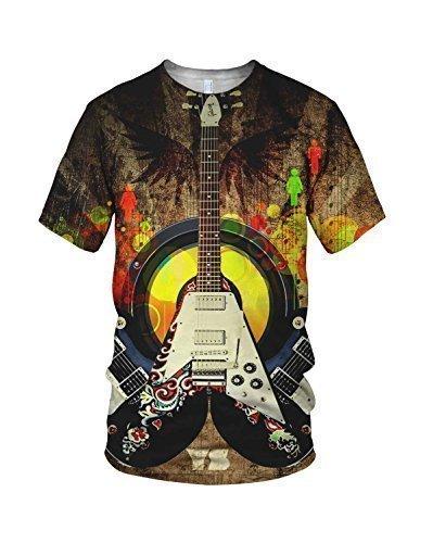 Estampado Entero Genial Guitarra Eléctrica Moda Hombre Camiseta: Amazon.es: Ropa y accesorios