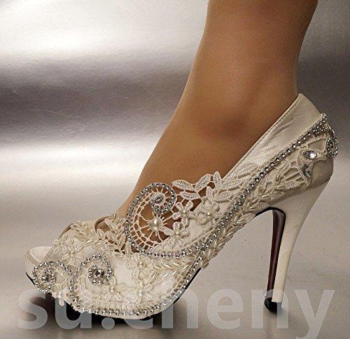 Scarpe Open Toe Pearl matrimonio sposa taglia Silk JINGXINSTORE Lace nbsp; 5 cristallo wxqCXUSt7