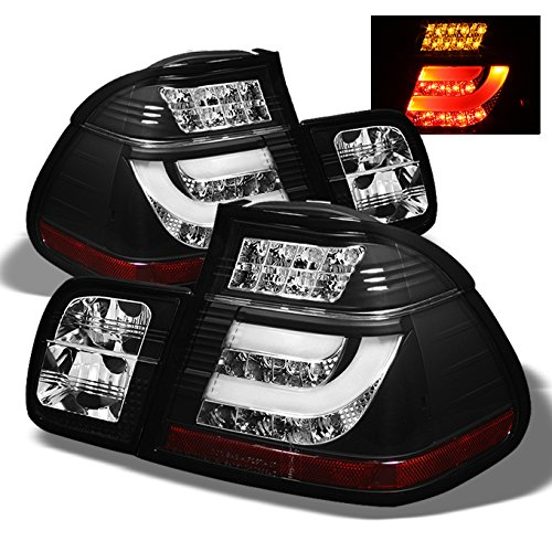 Led 3 Series 4d (For BMW E46 3-Series 325 330 4Dr Sedan Black Bezel Light Tube LED Tail Lights Driver/Passenger Lamps)