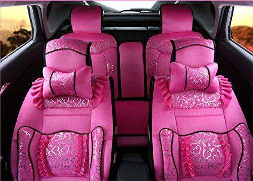 ANKIV Pink FULL SET Universal Fit 5 Seats Car Women Girls Luxury Royal Princess Lace Flounce Car Seat Covers Romantic Front and Rear Auto Seat Cushions with Fixed Waist Support Bow Pillows (Princess Seat Covers)
