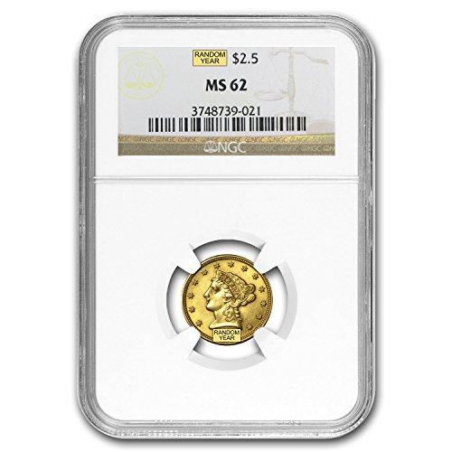 1840 – 1907 $2.50 Liberty Gold Quarter Eagle MS-62 NGC/PCGS $2.50 MS-62 PCGS
