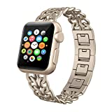Apple Watch Band 38mm, Swees Jewelry Jewels Cowboy Style Stainless Steel Metal Link Replacement Wristbands for Apple Watch Series 1 , Series 2, Series 3, Sports & Edition Women Girls, Champagne Gold