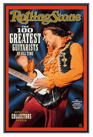 Jimi Hendrix Rolling Stone Greatest Guitarists Framed Poster - Black Metal Frame 22 x 34