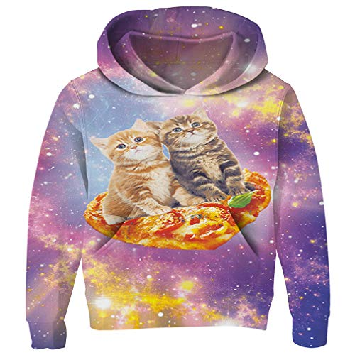 Colorful Cat (RAISEVERN Boy's Hoodies Colorful Cat Travel in Space Pattern Hoodies Stylish Funny Cute Sweatshirt Gym Comfy Pullover Hoody Outfits)