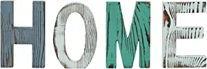 HeyMal Home Sign Rustic Multicolor Wall Decor, Wooden Home Letters Wall Plaque Decoration for Kitchen Living Room