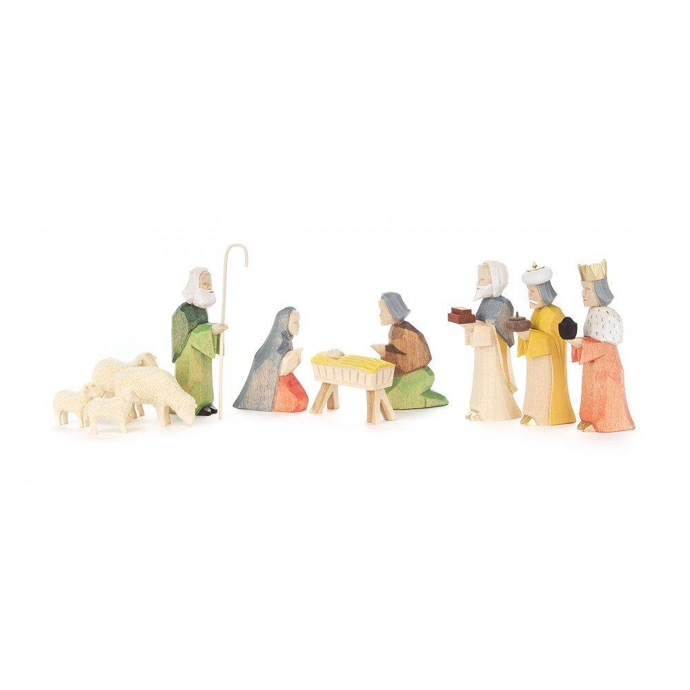 Geschnitzte Krippefiguren - 11-teilig - Dregeno Erzgebirgische Holzkunst - Artikel 083 216B