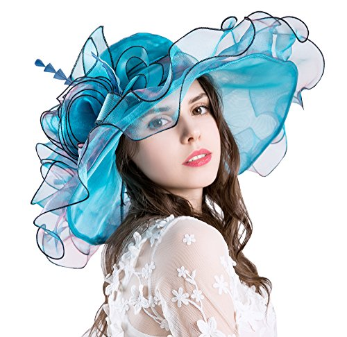 Obosoyo Women Foldable Organza Church Derby Hat Ruffles Wide Brim Summer Beach Sea Sun Hats