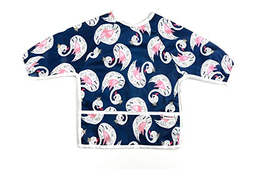 Pikababy Long Sleeved Bib Waterproof Bibs with pocket - 6 to 24 months baby girl and boy colors (Swan) ()