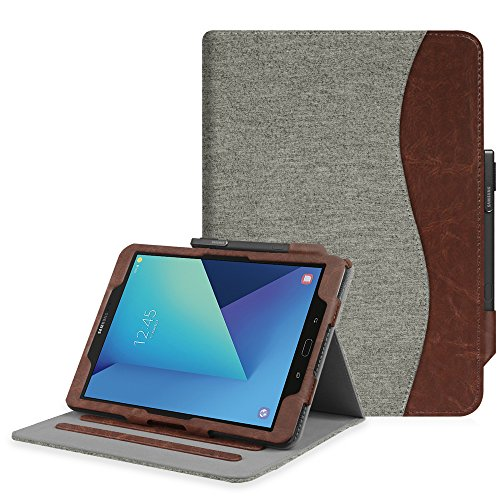 Fintie Case for Samsung Galaxy Tab S3 9.7, [Corner Protection] Multi-Angle Viewing Stand Cover Packet with S Pen Protective Holder Auto Sleep/Wake for Tab S3 9.7(SM-T820/T825/T827), Denim Gray