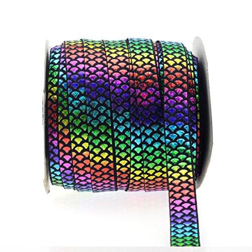 (Midi Ribbon Rainbow Hologram Holographic Laser Mermaid Scale Print Fold Over Elastic 5/8