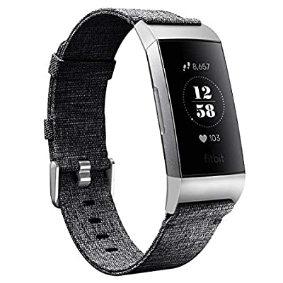 Karei Woven Bands Compatible with Fitbit Charge 3/Charge 3 SE, Soft Accessory Sports Band Replacement Strap Small Large for Fitbit Charge 3 Fitness Activity Tracker Women Men