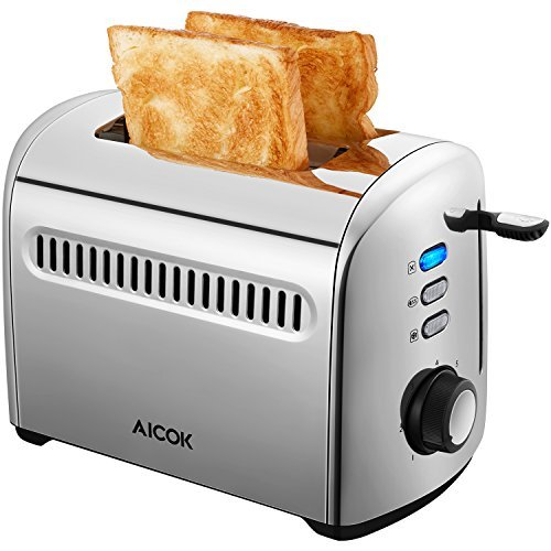 Aicok Toaster, 2-Slice Toaster Stainless Steel Toaster with Removable Crumb Tray, Extra-Wide Slots,...