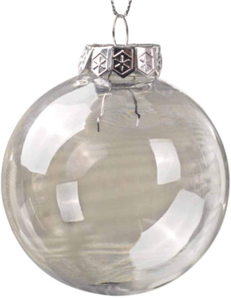 10xNamgiy Bolas de Navidad, Redonda Plástico Transparente Rellenables Bola Decorar el Arbol y Ventana de Navideña Colgantes Regalos para Niño