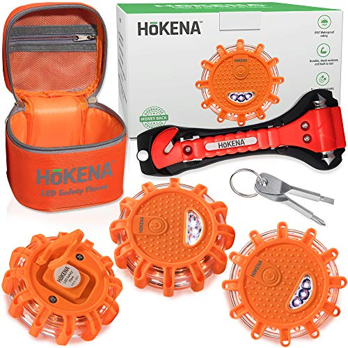LED Road Flares Emergency Lights - Roadside Warning Car Safety Flare Kit for Vehicles & Boat | 3 Beacon Disc Pack with Tools for Easy Battery Replacement & Bonus Seatbelt Cutter by HOKENA