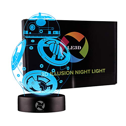 3D Optical Illusion Night Light - 7 LED Color Changing Lamp - Cool Soft Light Safe For Kids - Solution For Nightmares - Star Wars BB-8 ()