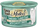 Fancy Feast Gourmet Cat Food, Shredded Turkey Fare in Broth with Garden Greens, 3-Ounce Cans (Pack of 24), My Pet Supplies