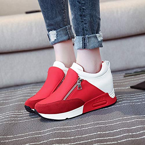 Women's Fashion Solid Color Round Head Breathable Sports Shoes Sports Running Climbing Platform Shoes Red by Lloopyting (Image #2)