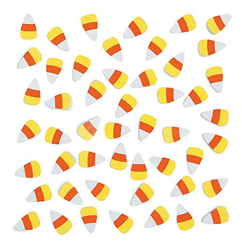 Fun Express - Adhesive Wooden Candy Corn (50pc) for Fall - Craft Supplies - Bulk Craft Accessories - Misc Bulk Craft Accessories - Fall - 50 Pieces