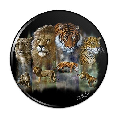 Lion Tiger Snow Leopard Big Cats Pinback Button Pin Badge - 1