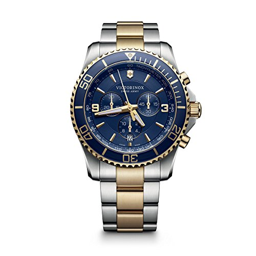 Victorinox Swiss Army Men's 'Maverick' Swiss Quartz Stainless Steel Casual Watch, Color:Two Tone (Model: (Mens Swiss Military Stainless Steel)