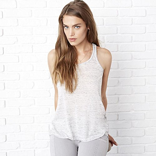Bella 8800 Womens Flowy Racerback Tank - White Marble, Extra Large ()