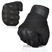 Etrance Ventilate Wear-resistant Military Equipment Half Finger Fingerless and Full Finger Tactical Gloves Hard Knuckle and Foam Protection for Shooting Airsoft Hunting Otdoor M/L/XL (Full-finger Black, L (20-23cm))