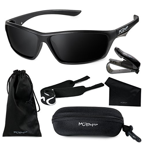 Morph Aim Polarized Sports Sunglasses for Men and Women + Complete Accessories - Through Sunglasses See Clothes Can Which