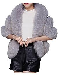 Helan Women's Soft Long Faux Fox Fur Shawl
