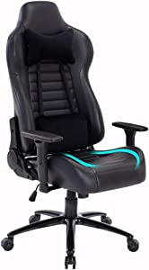 Blue Whale Massage Gaming Office Chair - Metal Base and Special Wave Support,High Back Reclining Racing Game Computer Desk Chair,Ergonomic Leather Executive Chair with Headrest and Lumbar Pillow
