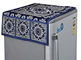 Yellow Weaves Floral Design Decorative Fridge Top Cover (Blue)