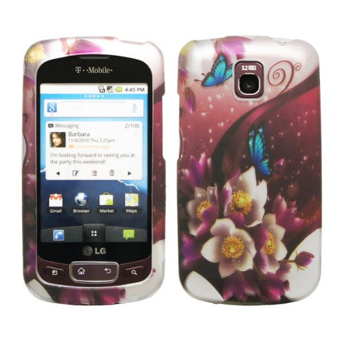 White Purple Flower Rose Garden Blue Butterfly Design Rubberized Snap on Hard Shell Cover Protector Faceplate Cell Phone Case for T-Mobile LG Optimus T P509 / LG Thrive / AT&T LG Phoenix P505 + Clear LCD Screen Guard Film