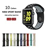 Kobwa Soft Silicone Nike and Sport Style Replacement Band For Apple Watch Series 1 and 2, (42mm black+grey)