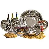 Restaurant Essentials Heavy Duty Stainless Steel Mixing Bowls 11 Piece Bakeware Cookware Set