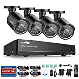 SANNCE 8CH 1080N Security Camera System and (4) 720P Night Vision Surveillance Cameras with IP66 Weatherproof, P2P Technology, QR Code Scan Remote Access - NO HDD