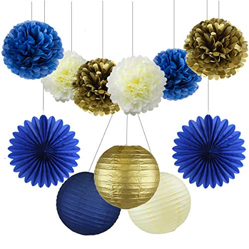 11PCs Navy Blue Gold Cream 10inch 12inch Tissue Paper Pom Pom Paper Flowers Honeycomb Paper Lanterns for Navy Blue Themed Party Decoration Bridal Shower Decor Baby Shower Royal Prince Party Supplies]()