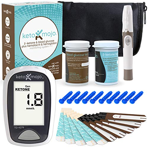 - Keto-Mojo Blood Ketone and Glucose Testing Kit, Monitor Your Ketogenic Diet, 1 Meter, 1 Lancing Device, 10 Lancets, 10 Ketone Test Strips, 10 Glucose Test Strips, Carrying Case